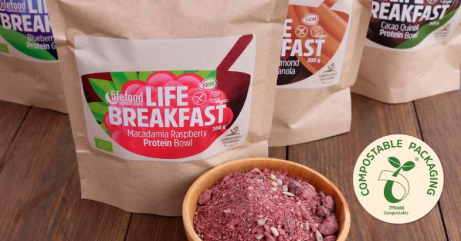 100% kompostovatelné obaly pro výrobky Lifefood