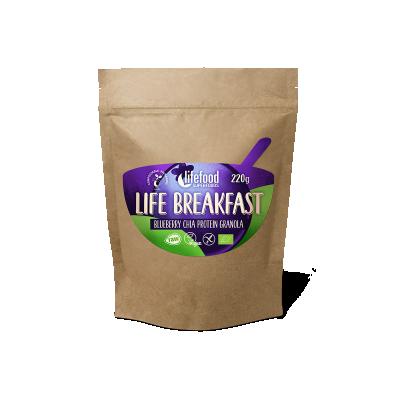LIFE BREAKFAST Granola borůvková s proteinem a chia BIO RAW
