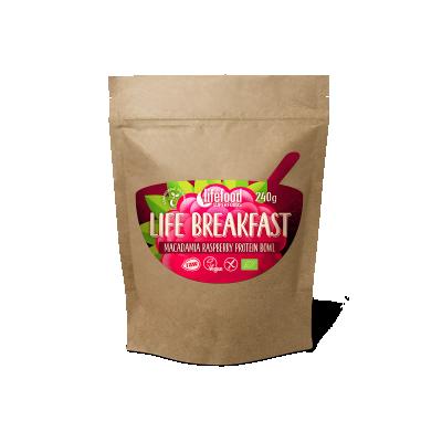 LIFE BREAKFAST Kaše malinovo-makadamiová s proteinem BIO RAW