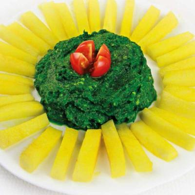 Špenát s hranolky z bílé ředkve