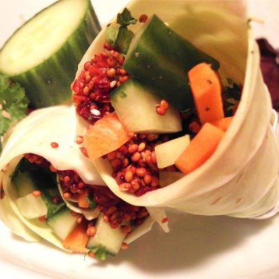 Zeleninové wrapy s červenou quinoou