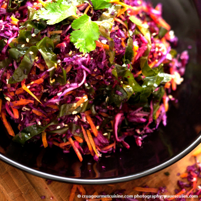 Colorful Cabbage Salad with Sea Lettuce