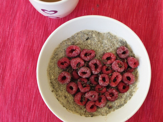 Chia Pudding with Berries and Cardamom Cream