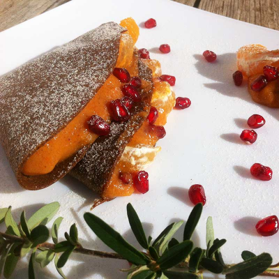 Fruity Crepes with Lucuma and Clementine Filling