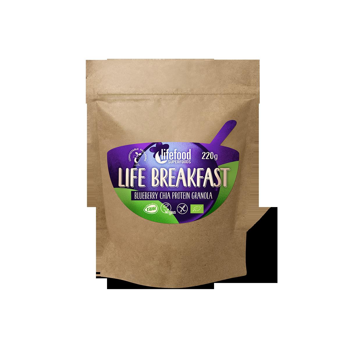 LIFE BREAKFAST Borůvková proteinová směs s chia semínky