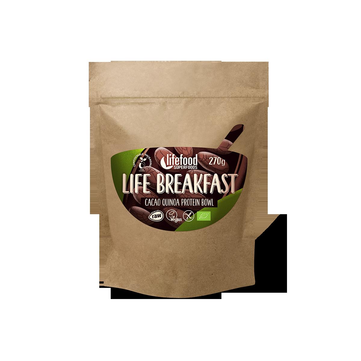 LIFE BREAKFAST Kakaová proteinová snídaňová kaše s quinoou a skořicí