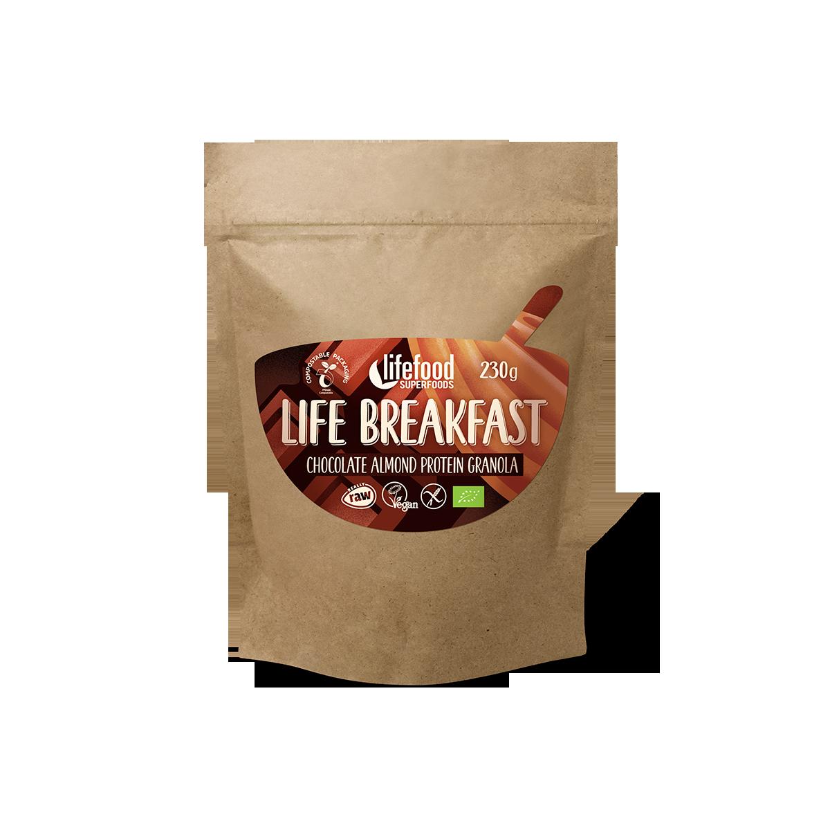 LIFE BREAKFAST Čokoládová snídaňová granola s proteinem a mandlemi