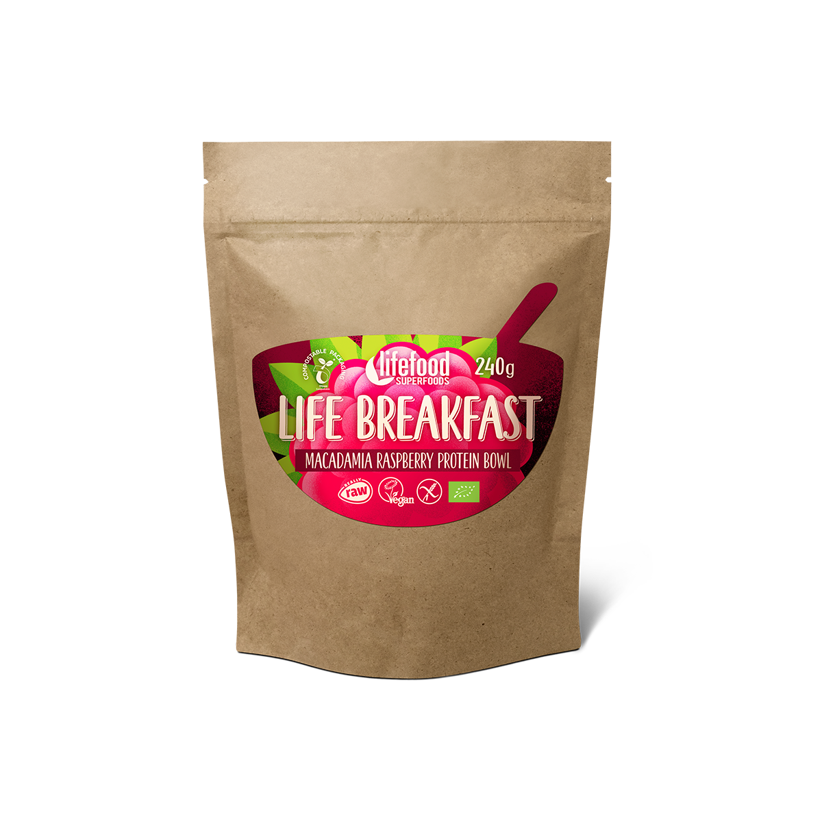 Life Breakfast malinová BIO RAW